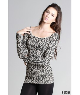 Nikibiki Leopard Print Ribbed Long Sleeve Top