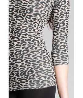Nikibiki Leopard Print Ribbed 3/4 Sleeve Top