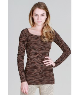 Nikibiki Zebra Print Ribbed Long Sleeve Top
