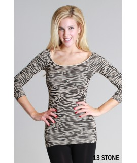 Nikibiki Zebra Print Ribbed 3/4 Sleeve Top