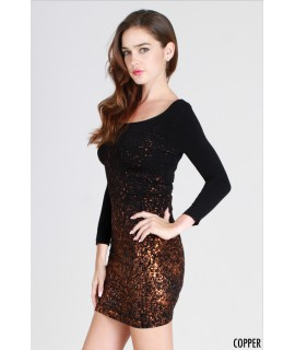 Nikibiki Glitter 3/4 Sleeve Scoop Neck Dress