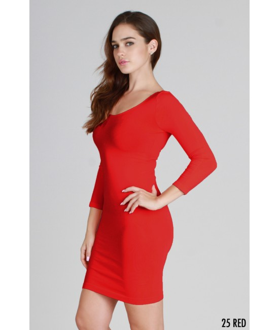 Nikibiki Scoop Neck 3/4 Sleeve Dress