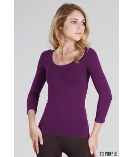 Nikibiki 3/4 Sleeve Scoop Neck Top